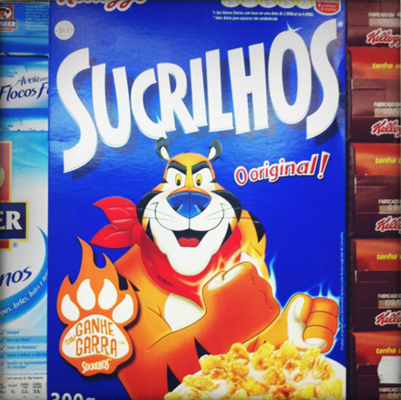 We thought this was like if we had a cereal in the states: Aspertame! But apparently it means sweet. Hell, Google translate thinks it means Cornflakes. So who knows?! Also, since when did Tony the Tiger's fists emanate white fire?