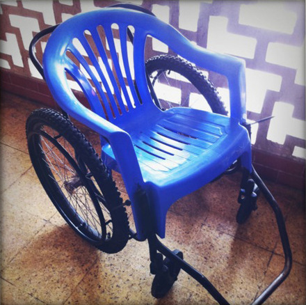 So Matt thinks he has a parasite. We found a clinic and called a doctor who happened to work in an emergency room. On our way to search for his office, we came across this, ahem, wheelchair. You be the judge.
