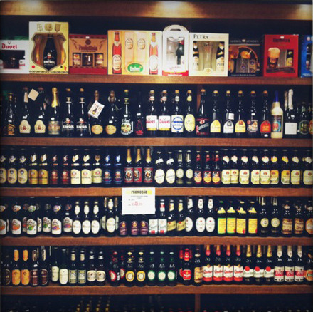 Wall of imported beers.