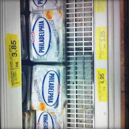 Sideways Kraft Philadelphia Cream Cheese: R$5.65 (US$3.52)