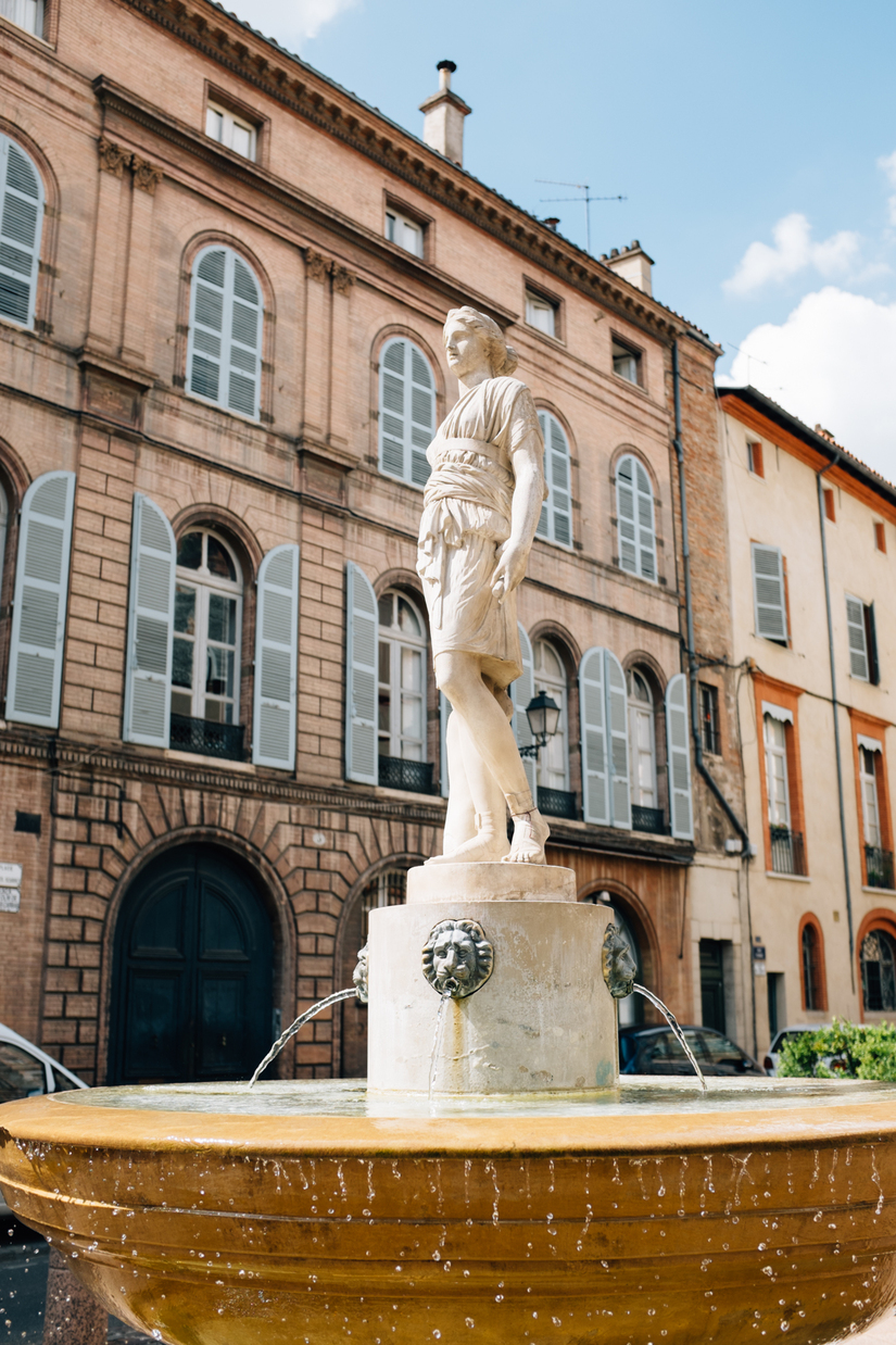 city, street, architecture, toulouse, Toulouse, fountain