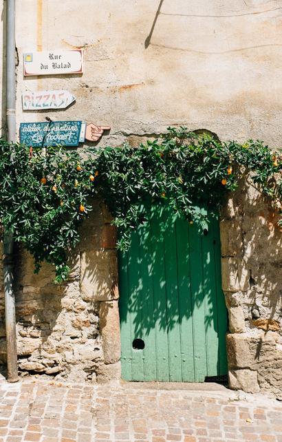 countryside, architecture, park, languedoc, apricot, door, Olargues, town, Languedoc, Parc naturel régional du Haut-Languedoc, vine